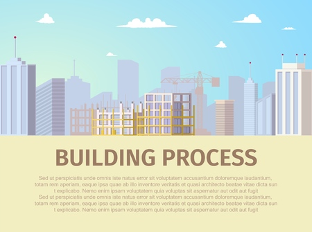 Building Process Horizontal Web Banner with Modern Metropolis Business Center, Skyscrapers Skyline and Unfinished New House Building Construction Site Illustration. Construction Company Landing Page
