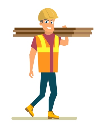 Happy Smiling Builder, Construction Company Workman or Contractor in Uniform and Protective Helmet Carrying Wooden Boards on Shoulder Flat Vector Character Isolated on White Background. Man at Work Vetores