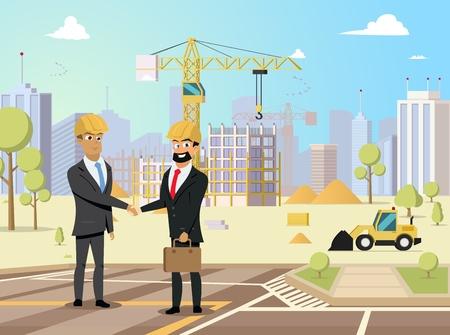 Bon investissement dans l'objet immobilier, partenariat dans le concept de vecteur plat de projet d'entreprise de construction avec des hommes d'affaires satisfaits dans la poignée de main de casques sur l'illustration de chantier de construction de maison neuve