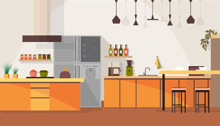 Spacious Kitchen Interior Design Cartoon Vector Illustration with Chairs Around Dinning Table, Various Contemporary Kitchen Furniture and Appliances, Dishes and Cooking Devices. Household Background