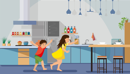 Children Hurrying for Breakfast Flat Vector. Happy Boy and Girl Running and Playing in Spacious Kitchen with Dining Table and Various Appliances Illustration. Kids Enjoying New Modern House Concept