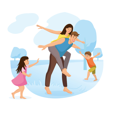 Family Park Amusement and Outdoor Activity Cartoon Vector Concept Isolated on White Background. Happy Children Running and Playing with Parents, Father Piggyback Riding Mother on Meadow Illustration