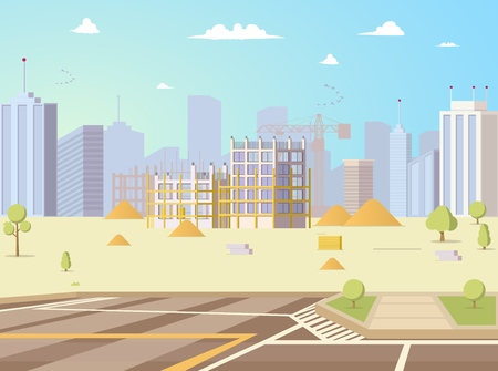 Construction Site Flat Vector Background with Business Center, Skyscraper or House Unfinished Building, Parking and Modern Metropolis Cityscape Illustration. Growing City, Real Estate Object Concept