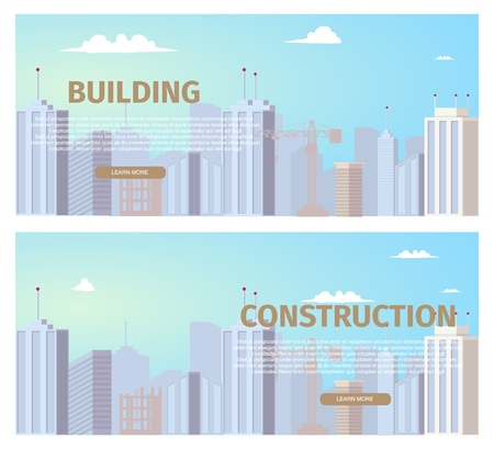 City Construction Projects Horizontal Web Banners Set with Modern Metropolis Business Center, Skyscrapers Skyline, Unfinished Building Construction Site Illustration. Real Estate Company Landing Page Çizim