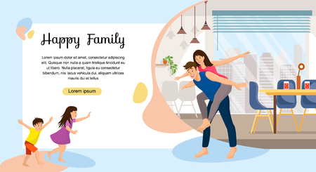 Happy Family Enjoying New Home Cartoon Vector Horizontal Web Banner. Joyful Parents with Children Fooling Around in Spacious Living Room Illustration. Construction or Real Estate Company Landing Page