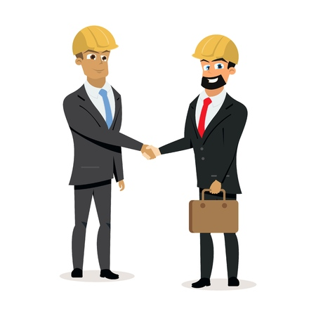 Construction Companies Leaders, Business Partners, Building Investors in Protective Helmets, Happy Smiling and Shaking Hands Flat Vector Isolated on White Background. Successful construction contract