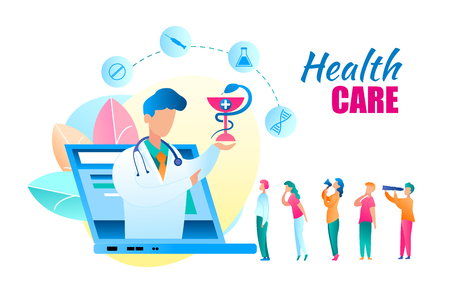 Flat Vector Online Health Care Doctor Consultation. Banner Illustration Doctor Talk About Medicine from Laptop Monitor Screen. Group People Seeks Help from Medical Specialist. Snake Wrapped Around Cup