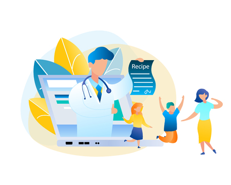Flat Vector Online Consultation Doctor and Patient. Illustration Male Pediatrician in White Medical Gown, Laptop Screen Holding Out Treatment Recipe. Happy Mom and Children Jumping Cured Disease Vektoros illusztráció