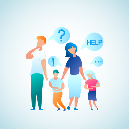 Flat Illustration Parent Appeal for Help Doctor. Vector Image Man and Woman Think who to Contact with Problem Abdominal Pain in Child. Little Boy and Girl Hold on to Stomach in Pain