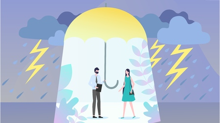 Health and Life Insurance Flat Vector Concept with Insurance Agent Covering Woman From Bad Weather with Umbrella, Offering Policy Illustration. Feeling in Safety, Protection From Natural Disasters Illustration