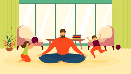 Father Meditating at Home, Woman Doing Relaxing Exercises in Living Room, Practicing Yoga While Haughty, Noisy Children Running around Flat Vector Illustration. Calm Parent, Balance and Stress Relief Ilustração