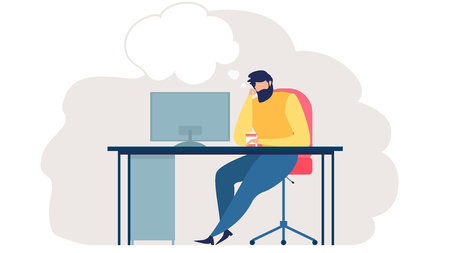 Pensive Man Sitting at Work Desk with Screen, Drinking Coffee and Thinking About Something Illustration. Freelancer or Web Developer Planning Project, Searching New Ideas Concept with Thoughts Cloud