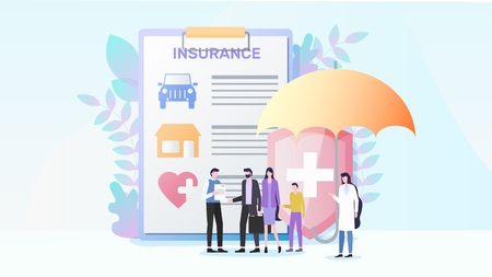 Total Insurance Flat Vector Concept with Insurance Agent Offering Contract to Family with Child Illustration. Home, Car and Health Insurance. Protecting Property and Life From Unpredictable Threats