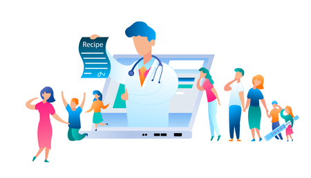 Vector Doctor Online has Written Treatment Recipe. Illustration Group People Turned Help to Pediatrician. Family with Sick Child. Use Laptop for Communication Doctor. Mom with Son and Daughter Jumping 矢量图像