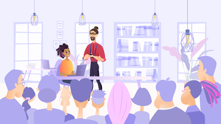 Illustration Planned Meeting Employees Company. Vector Image Teamwork on Project. Discussion Plan for Solving Tasks. Girl with Laptop Help in Presentation Young Man. Modern Office Interior
