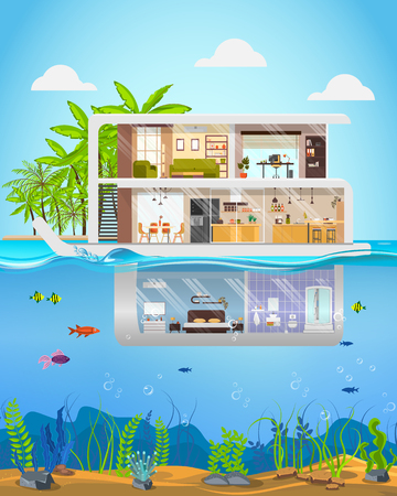 Luxury Real Estate Property Flat Vector. Futuristic Three-Storey Villa, Cottage on Tropical Coast or Island with Underwater Room, Submerged in Water Level and Sea Bed View Behind Window Illustration