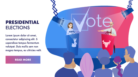 Vector Group Voter Watching Debates Candidate. Banner Illustration Presidential Elections. Performances Women and Men in Front Group People. Fight for Vote in Election. Tribune with Image an Animal Vettoriali