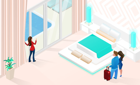 Summer Vacations in Comfortable Hotel Isometric Vector with Hotel Manager Showing to Young Couple their Spacious Room with Bed and Entrance to Swimming Pool Illustration. Honeymoon on Resort Concept Illustration