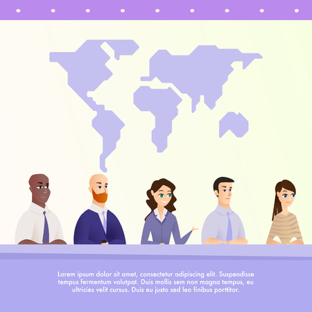 Illustration Group People Speak to Journalists. Banner Vector World Conference Specialist in Environmental Protection Earth. Podium for Speaker Background World Map. Answer to Journalist Question