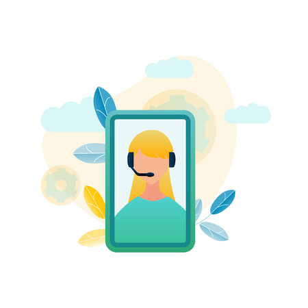 Vector Illustration Call Center Customer Service. Image Girl Phone Operator Advice Online Store. Technical Assistance and Customer Support. Staff Member Company. Mobile Phone Screen as Template Vektoros illusztráció