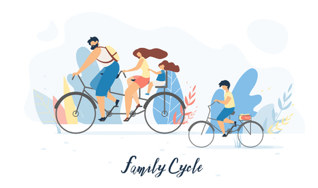 Family Cycle Flat Vector Banner, Poster with Father and Mother Riding Tandem Bicycle with Daughter Sitting on Child Bike Seat Behind, Son Cycling Beside Illustration. Family Outdoor Activity Concept Vettoriali