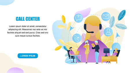 Illustration Group People Call Center Worker Store. Horizontal Banner Guy, Girl Sitting Computer Advising Client Online Store. Technical Customer Support. Communication. People Talking Phone Buyer