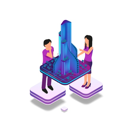 Isometric Image Augmented Reality for Architect. Vector Illustration Group Architect Working on Hologram Skyscraper Project. Man and Woman Engineer. Augmented Virtual Reality to Work 矢量图像