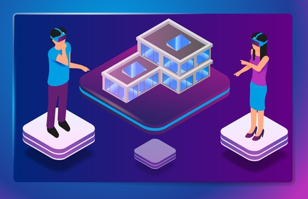 Isometric Augmented Virtual Reality for Architect. Vector Illustration Man and Woman are Designing Small House Structure. Group Architect Engineers Use Virtual Reality Glasses to Work Project Illustration
