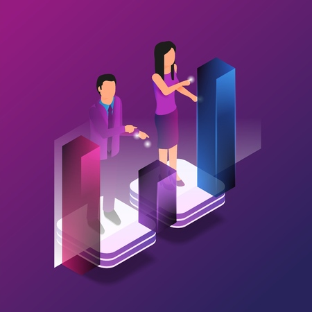 Isometric Augmented Reality for Finance Analytic. Vector Illustration Man and Woman Broker are Working Analytics Business Graph Finance Graph. Stock Trading in Online Financial Market Ilustração