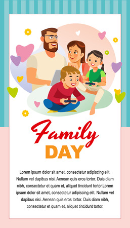 Rodzinny dzień kartkę z życzeniami, plakat lub szablon wektor kreskówka pionowy transparent z szczęśliwych rodziców spędzających czas z dziećmi. Ojciec i matka korzystają z laptopa, podczas gdy dzieci bawią się w grę komputerową