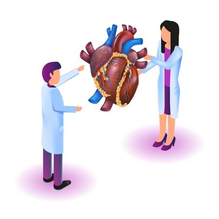 Immagine isometrica Realtà virtuale in medicina in 3d. Illustrazione vettoriale Medico che studia la diagnosi di malattie cardiache. Malattia dell'esame dettagliato del cuore umano di proiezione. Tecnologia sanitaria del futuro