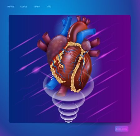 Isometric Banner Augmented Reality in Medicine. Vector Illustration Projection Human Heart. Web Page Medical Clinic. Doctor Heart Disease Diagnosis. Modern Technologies Medical Treatment Patient