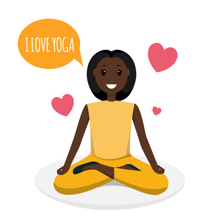 Happy Woman Doing Yoga Sport Training Program. Image Character Smiling Young African American Girl Sitting in Lotus Pose Speaking I Love Yoga. Red Heart. Isolated on White Background
