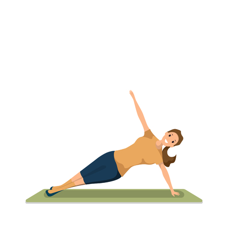 Happy Woman Doing Morning Fitness Sport Workout. Young Woman Engaged in Yoga. Smiling Girl are Standing in Yoga Pose. Healthy Lifestyle. Green Exercise Mat. Isolated on White Background