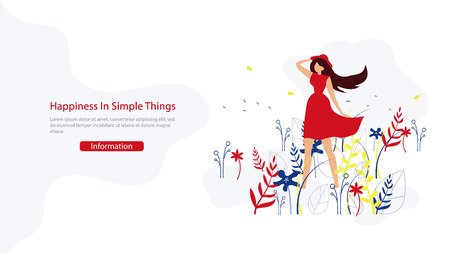 Woman Beauty, Happy Lifestyle Flat Vector Web Banner with Young Lady Holding Hat on Wind Illustration. Motivation, Positive Thinking and Open Ming Psychological Practice Course Landing Page Template