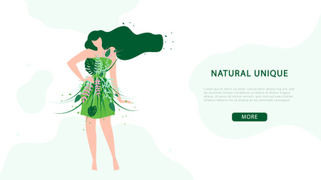 Women Fashion and Beauty Flat Vector Web Banner with Lady in Short Green Dress Covered Trees and Flowers Leaves Illustration. Stylish Clothing from Organic Natural Materials Manufacturer Landing Page  イラスト・ベクター素材