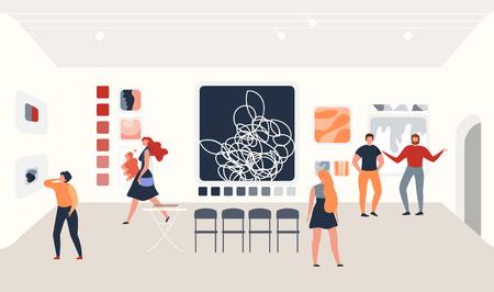 Ausstellung für zeitgenössische Kunst flaches Vektorkonzept mit Besuchern, die Gemälde im abstrakten Stil an der Wand der Ausstellungshalle der Galerie für moderne Kunst betrachten und diskutieren. Museumsbesucher Vektorgrafik