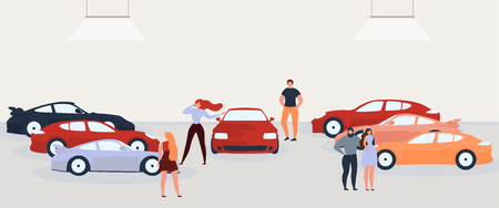 Car Dealer Showroom Flat Vector with People Evaluating and Buying Cars Illustration. Rental Car Service Clients Choosing Transport. Auto Loan Banner. Vintage Sport Vehicles Collection Exhibition