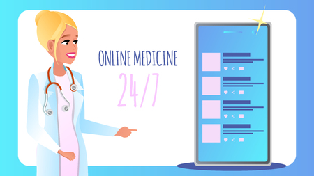 Banner Online Medicine Round Clock Seven Day Week. Vector Illustration Smiling Woman Doctor Consults Patient Online Using Mobile Phone. Technology Modern Medicine. Chat Communication with Clinic