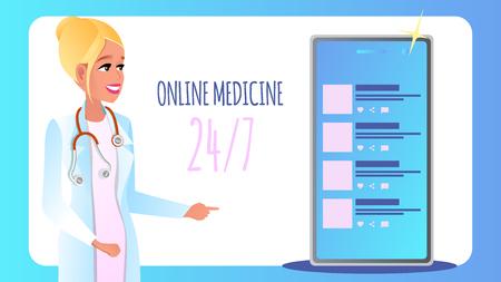 Banner Online-Medizin rund um die Uhr sieben Tage Woche. Vektor-Illustration Lächelnde Ärztin berät Patienten online mit Handy. Technologie Moderne Medizin. Chat-Kommunikation mit Klinik