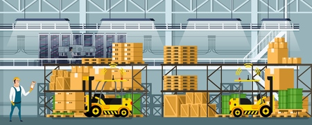 Modern Warehouse Indoor Space with Goods on Shelf. Manufacturing Storage with Computer Control Logistic, Automatic Forklift Car and Professional Worker. Smart Factory. Flat Cartoon Vector Illustration Banque d'images - 117775693