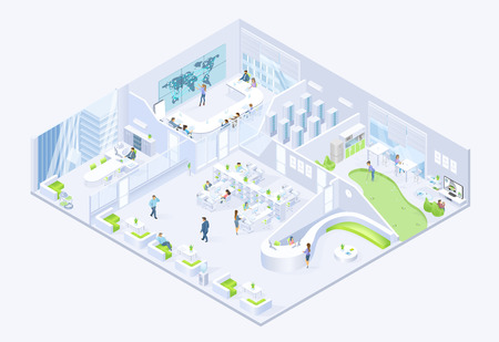 Modern It Company Office, Coworking Center Rooms Isometric Vector Cross Section Interiors. Business People, Employees Working in Office, Conducting Meeting in Boardroom, Resting in Lounge Illustration Vectores