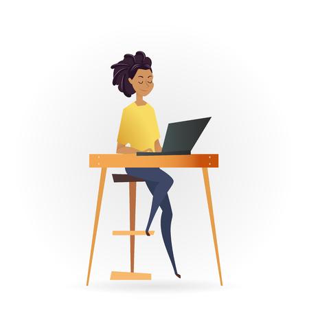 Freelancer Woman Working by Computer on Table. Successful Female Character Sitting on High Chair or Stool. Young Calm Freelance Worker with Laptop on Desk. Flat Cartoon Vector Illustration