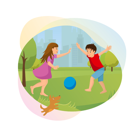 Children Outdoor Fun Cartoon Vector Banner. Smiling Preschooler Boy and Girl Running Barefoot on Grass with Dog, Playing Ball in City Park Illustration Isolated on White Background. Happy Childhood
