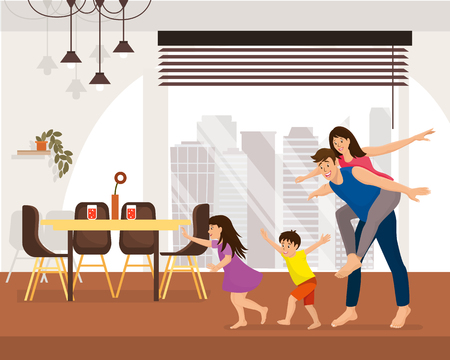 Family Enjoying New Home Cartoon Vector Concept with Happy Smiling Children Running and Fooling Around, Man Piggyback Riding His Young Wife in Spacious Living Room in Modern Apartment Illustration Illustration
