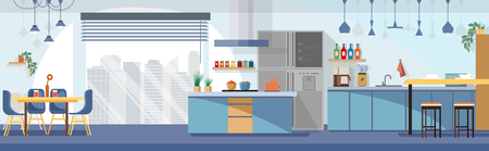 Modern, Spacious Kitchen Interior Cartoon Vector Panoramic Illustration with Chairs Around Dining Table, Various Contemporary Kitchen Appliances, Dishes and Cooking Devices. Household Background
