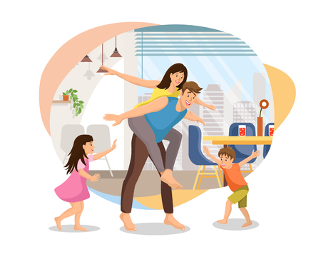Happy Family Fooling Around at Home Cartoon Vector Isolated on White Background. Children Playing with Parents in Living Room, Father Giving Piggyback Ride to Mother Illustration. New Home Concept