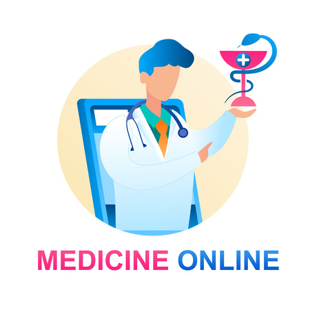 Medicine Online Consultation Doctor Pediatrician. Banner Illustration Man White Medical Gown with Monitor Screen Tablet. Holding Sign Medical Institution, Serpent Wrapped Around Cross with an Emblem
