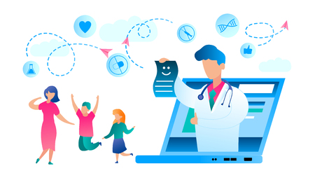 Illustration Happy Family Recovered from Illness. Vector Doctor White Medical Gown Lifted Thumb Up, from Laptop Monitor Screen Stretches Certificate Recovery. Mom with Son and Daughter Jumping for Joy