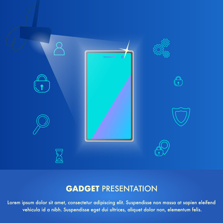 Illustration Event New Gadget Presentation World. Banner Vector Mobile Phone in Light Soffit. Showing New Function and Possibility Device, Security, Smart, Long Working Time, Personalization Banque d'images - 117775867